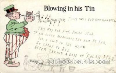 mus002158 - Blowing in his Tin  Postcard Post Cards Old Vintage Antique