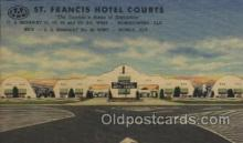 MTL001233 - St. Francis Hotel Court, Mobile, Alabama, Ala, USA Motel Hotel Postcard Postcards