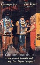 MTL001302 - One Armed Bandits, Las Vegas, NV, USA Motel Hotel Postcard Post Card Old Vintage Antique