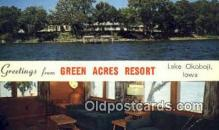 MTL001332 - Green Acres Resort, Lake Okoboji, IA, USA Motel Hotel Postcard Post Card Old Vintage Antique