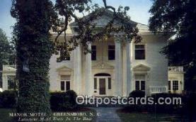 MTL001405 - Manor Motel, Greensboro, NC, USA Motel Hotel Postcard Post Card Old Vintage Antique