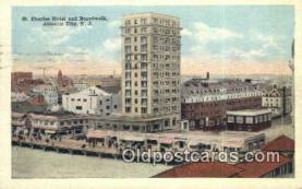 MTL001514 - St. Charles Hotel & Boardwalk, Atlantic City, NJ, USA Motel Hotel Postcard Post Card Old Vintage Antique