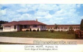MTL001536 - Central Motel, North Edge of Worthington, MI, USA Motel Hotel Postcard Post Card Old Vintage Antique