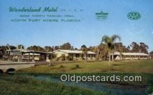MTL001837 - Wonderland Motel, North Fort Myers, FL, USA Motel Hotel Postcard Post Card Old Vintage Antique