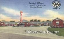 MTL011177 - Sunset Motel, Columbus, Georgia, GA USA Hotel Postcard Motel Post Card Old Vintage Antique
