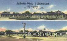 MTL011179 - Palmetto Motel and Restaurant, Orangeburg, South Carolina, SC USA Hotel Postcard Motel Post Card Old Vintage Antique