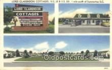 MTL011180 - Lord Clarendon Cottages, Summerton, South Carolina, SC USA Hotel Postcard Motel Post Card Old Vintage Antique