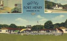 MTL011185 - Motel Fort Henry, Wheeling, West Virginia, WV USA Hotel Postcard Motel Post Card Old Vintage Antique