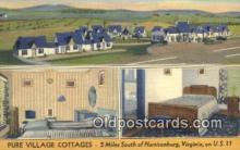 MTL011216 - Pure Village Cottages, Harrisonburg, Virginia, VA USA Hotel Postcard Motel Post Card Old Vintage Antique