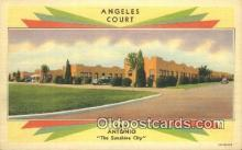 MTL011243 - Angeles Courts, San Antonio, Texas, TX USA Hotel Postcard Motel Post Card Old Vintage Antique