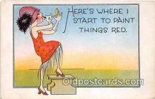 mak000208 - Here's Where I Start to Paint Things Red  Postcard Post Card