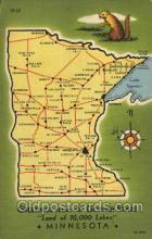 map001002 - Gopher State, Minnesota, USA Map, Maps Postcard Postcards