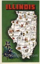 map001005 - Illinois, USA Map, Maps Postcard Postcards
