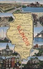 map001025 - Illinois, USA Map, Maps Postcard Postcards