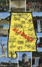 map001027 - Alabama, USA Map, Maps Postcard Postcards