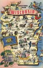 map001029 - Wisconsin, USA Map, Maps Postcard Postcards
