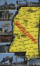 map001031 - Mississippi, USA Map, Maps Postcard Postcards