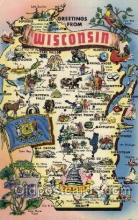 map001034 - Wisconsin, USA Map, Maps Postcard Postcards