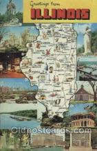 map001036 - Illinois, USA Map, Maps Postcard Postcards