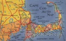 map001044 - Cape Cod, Mass, USA Map, Maps Postcard Postcards