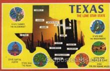 map001051 - Texas,USA Map, Maps Postcard Postcards