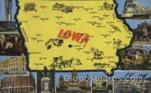 map001058 - Iowa, USA Map, Maps Postcard Postcards