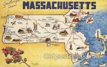 map001069 - Masachusetts, USA Map, Maps Postcard Postcards