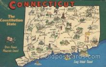 map001074 - Connecticut, USA Map, Maps Postcard Postcards