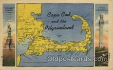 map001076 - Cape Cod, Mass, USA Map, Maps Postcard Postcards