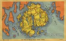 map001078 - Mount Desert Island, Maine, USA Map, Maps Postcard Postcards