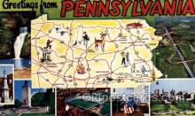 map001087 - Pennsylvania, USA Map, Maps Postcard Postcards