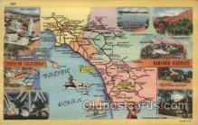 map001092 - Southern California, USA Map, Maps Postcard Postcards