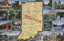 map001095 - Indiana, USA Map, Maps Postcard Postcards