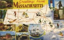 map001097 - Massachusetts, USA Map, Maps Postcard Postcards