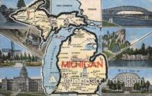 map001104 - Michigan, USA Map, Maps Postcard Postcards