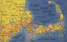 map001108 - Cape Cod, Mass, USA Map, Maps Postcard Postcards