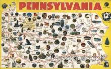map001111 - Pennsylvania, USA Map, Maps Postcard Postcards