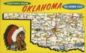 map001118 - Oklahoma, USA Map, Maps Postcard Postcards