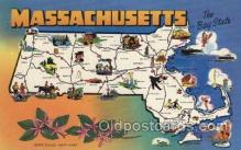 map001123 - Massachusetts, USA Map, Maps Postcard Postcards