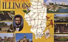 map001125 - Illinois, USA Map, Maps Postcard Postcards