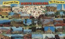 map001131 - North Carolina, USA Map, Maps Postcard Postcards