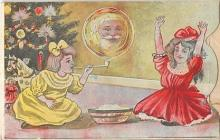 mec001022 - Mechanical Santa Claus Postcard Old Vintage Christmas Post Card
