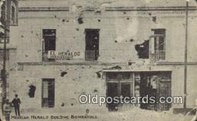 mex001082 - Mexican Herald Building Bombarded Mexican War Postcard Post Card Postal Mexicano Guerra tarjetas postales