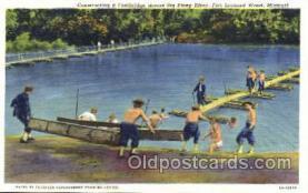 mil003009 - Footbridge Across Big Piney River, Fort Leonard Wood, Missouri, USA Military Linen Postcard Postcards