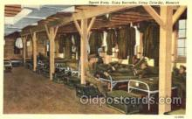 mil003014 - Squad Room, Army Barrack, Camp Crowder, Missouri, USA, Military Linen Postcard Postcards