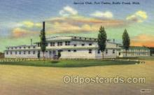 mil003039 - Service Club, Fort Custer, Battle Creek, Michigan, USA, Military Linen Postcard Postcards