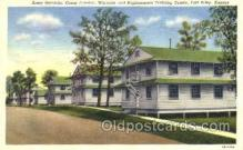 mil003046 - Army Barracks, Camp Funston, Replacement Training Center, Fort. Riley, Kansas, USAMilitary Linen Postcard Postcards