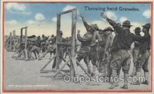 mil006076 - Throwing hand Grenades Military, WW I, World War I, Postcard Postcards