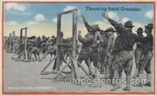 mil006136 - Throwing hand Grenades Military, WW I, World War I, Postcard Postcards