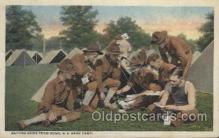 mil007125 - Getting news from Home, U.S. Army Camp Military Postcard Postcards